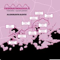 Kartta Tiederatikan reitistä ja sen varrella olevista korkeakoulukampuksista